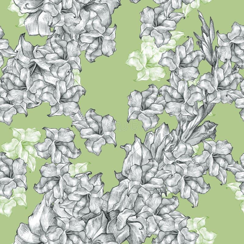 Botanisch bloemenbloempotlood die naadloze overladen patroontextuur trekken op kalme groen voor uitnodigingen of aankondigingen vector illustratie