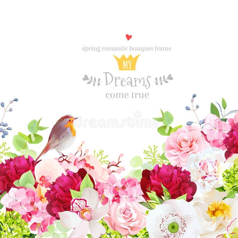 Botanisch stijlkader met bloemmengeling stock illustratie