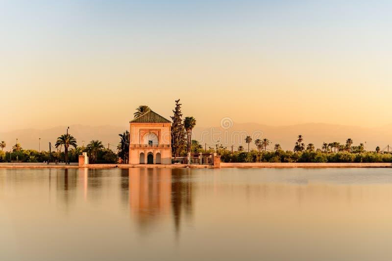 Botanische die tuinen aan het westen van Marrakech, Marokko, dichtbij de Atlasbergen worden gevestigd royalty-vrije stock afbeeldingen