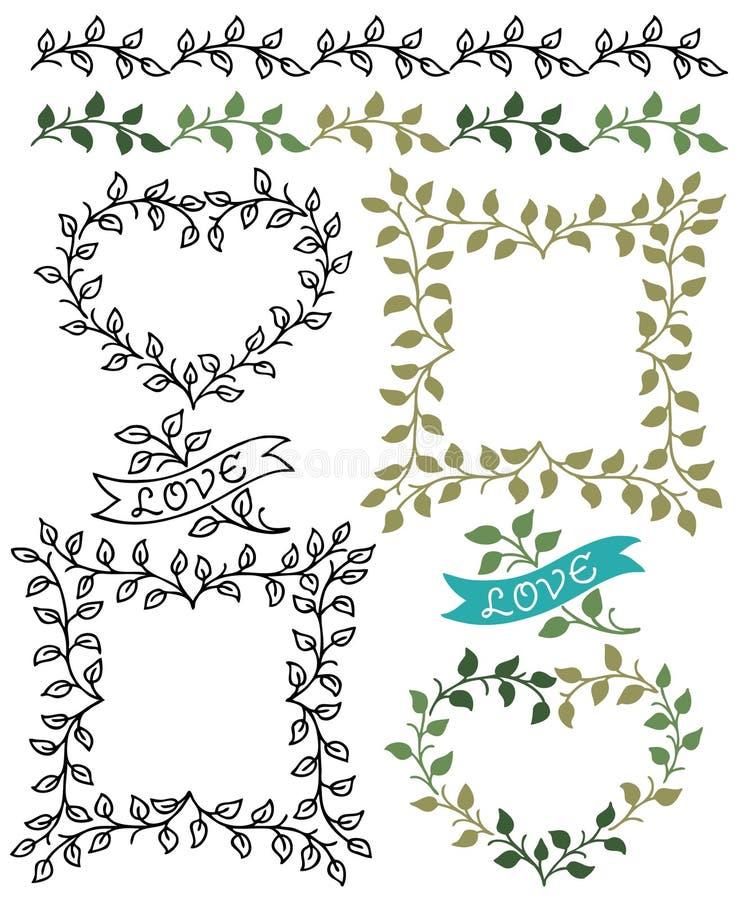 Botanische Grenzen en Kaders royalty-vrije illustratie