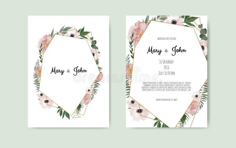 Botanische het ontwerp van het de kaartmalplaatje van de huwelijksuitnodiging, witte en roze bloemen op witte achtergrond stock illustratie