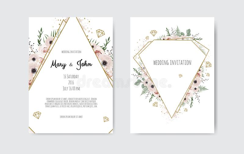 Botanische het ontwerp van het de kaartmalplaatje van de huwelijksuitnodiging, witte en roze bloemen Vectormalplaatjereeks vector illustratie