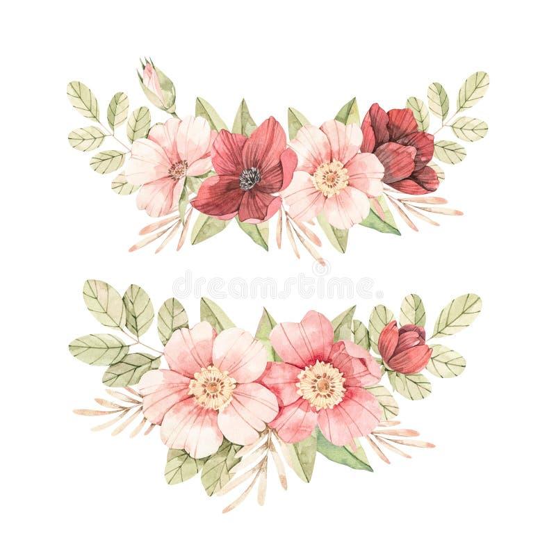 Botanische illustratie van de waterkleur Bouquets met roze hondroze bloesem Gentle rose, bud, takken en groene bladeren lente vector illustratie