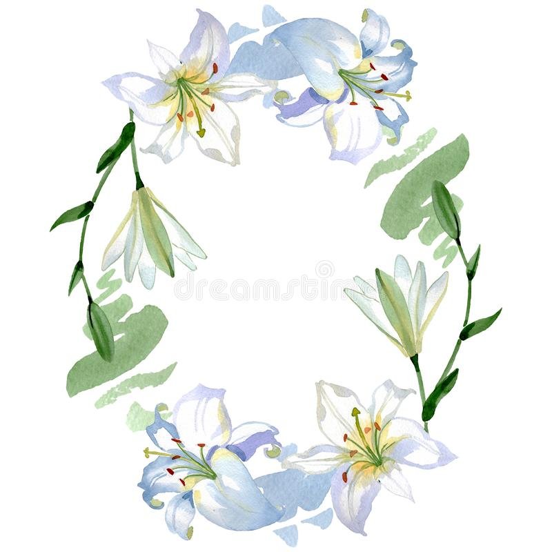 Botanische mit Blumenblumen der weißen Lilie Aquarellhintergrund-Illustrationssatz Feldgrenzverzierungsquadrat stockfotografie