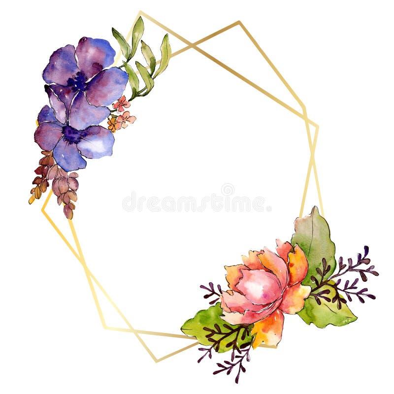 Botanische mit Blumenblumen des blauen purpurroten Blumenstrau?es Aquarellhintergrund-Illustrationssatz Feldgrenzverzierungsquadr vektor abbildung