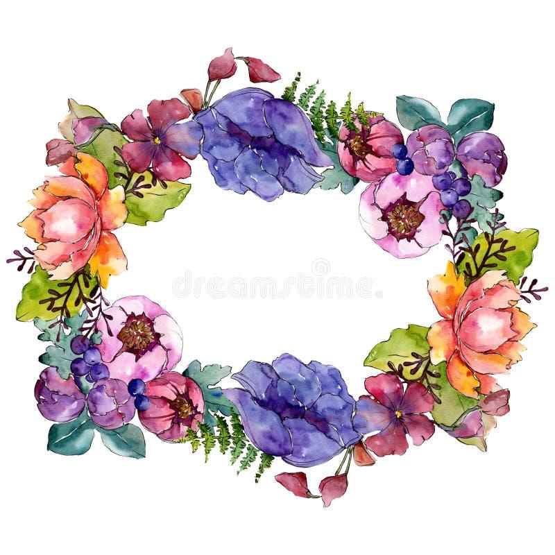 Botanische mit Blumenblumen des blauen purpurroten Blumenstrau?es Aquarellhintergrund-Illustrationssatz Feldgrenzverzierungsquadr lizenzfreie abbildung