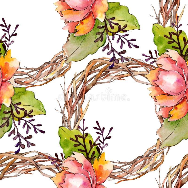 Botanische mit Blumenblumen des blauen purpurroten Blumenstrau?es Aquarellhintergrund-Illustrationssatz Nahtloses Hintergrundmust stockfoto