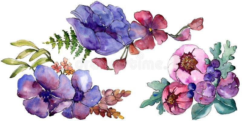 Botanische mit Blumenblumen des blauen purpurroten Blumenstrau?es Unterseite f?r Auslegung Lokalisiertes Blumenstrau?illustration lizenzfreie abbildung
