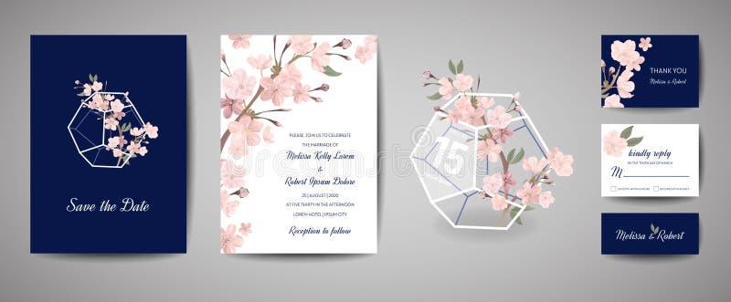 Botanische Retro- Hochzeitseinladungskarte, Weinlese Abwehr das Datum, Schablonendesign von Kirschblüte-Blumen und Blätter, Kirsc stock abbildung