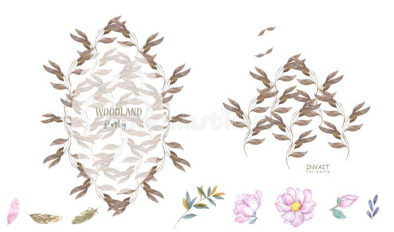 Botanische stijl van de huwelijks nodigt de bloemenwaterverf, uitnodiging sparen het ontwerp van de datumkaart met bosgroenkruide vector illustratie