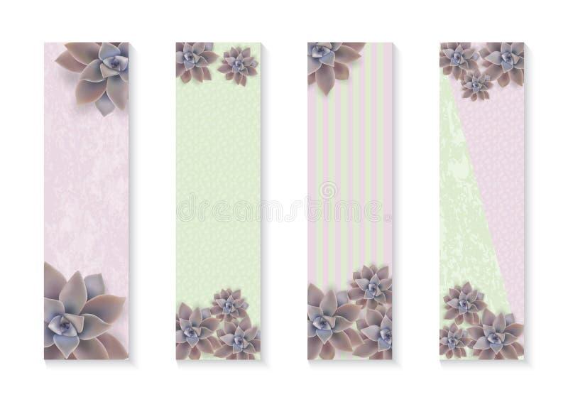 Botanische vertikale Fahnen des Vektors eingestellt mit Blumen Graptopetalum Plakat-Entwurf f?r Kosmetik, Badekurort, Gesundheits vektor abbildung