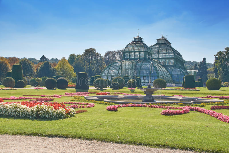 Botanischer Garten nahe Schonbrunn-Palast in Wien stockfotografie