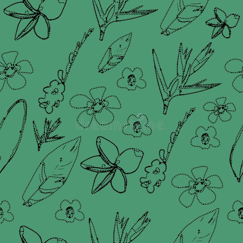 Botanischer tropischer Urlaub und nahtloses Muster der Blume lizenzfreie stockbilder