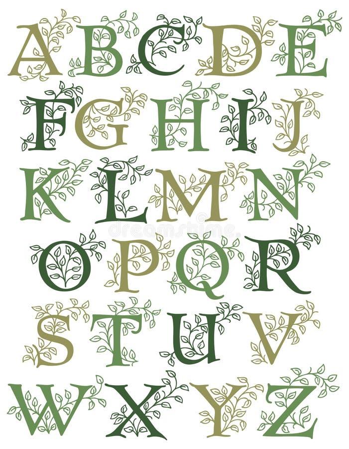 Botanisches Alphabet lizenzfreie abbildung