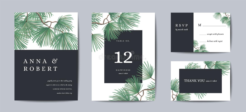 Botanisches Hochzeits-Einladungskarte Schablonen-Design, Kiefer mit goldener Folie, Weihnachtsgrüße, Sammlung lizenzfreie abbildung