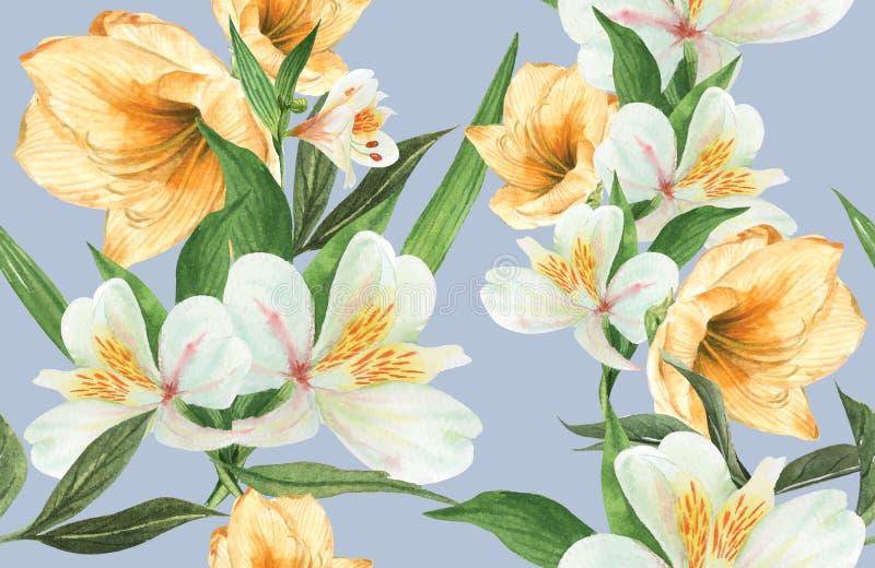 Botanisches Musterblumenaquarell, Dankkarte, Textildruckvektor-Illustrationsentwurf lizenzfreie abbildung