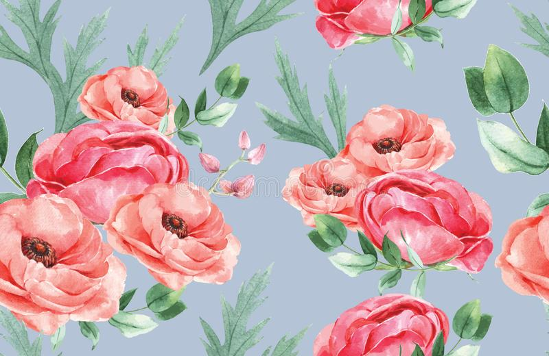Botanisches Musterblumenaquarell, Dankkarte, Textildruckvektor-Illustrationsentwurf stock abbildung