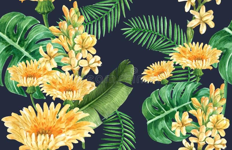Botanisches Musterblumenaquarell, Dankkarte, Textildruckvektor-Illustrationsentwurf vektor abbildung