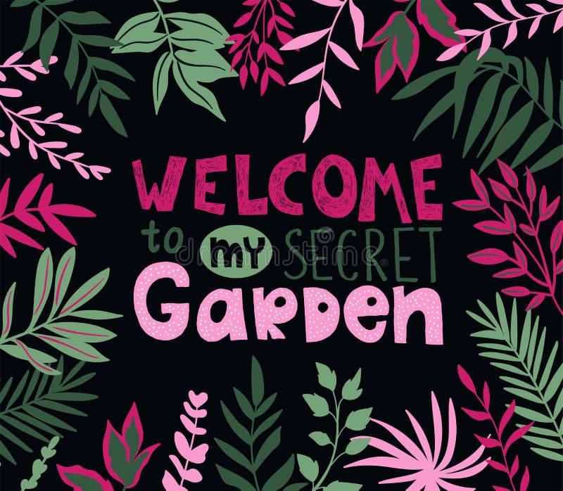 Botanisk affisch med stilfulla tropiska sidor och handskriven bokstäver - VÄLKOMNANDE till min hemliga trädgård royaltyfri illustrationer