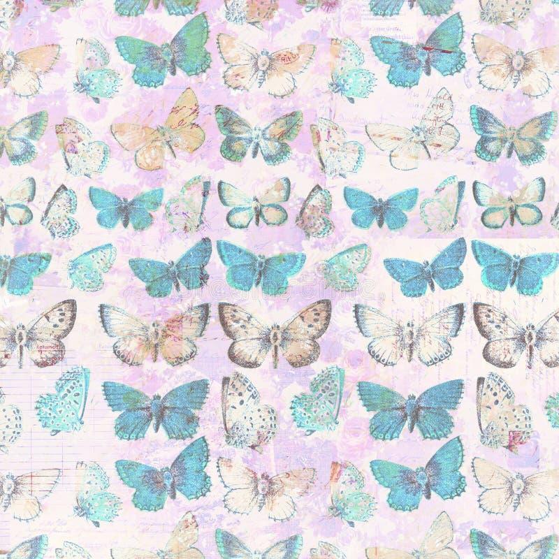 Botanisk bakgrund för antik modell för fjärilar grungy sjaskig chic stock illustrationer