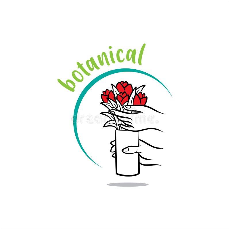 Botanisk enkel logo med händer som rymmer vektor för illustration för blommavashand en utdragen royaltyfri illustrationer