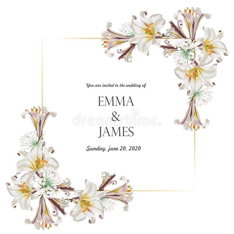 Botanisk gifta sig design för inbjudankortmall, blommor för vit lilja med den guld- ramen royaltyfri illustrationer