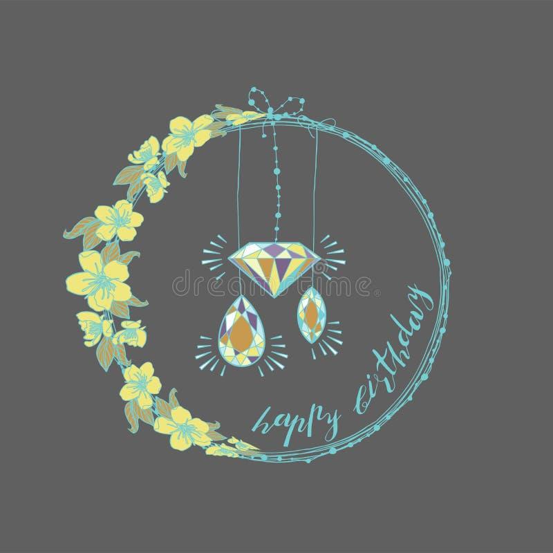 Botanisk girland, blom- krans för tappning med gemstones Körsbärsröda blommor stock illustrationer