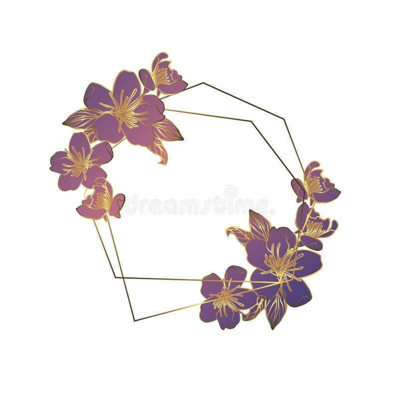 Botanisk girland från äppleblommor, blom- krans för tappning med den guld- polygonal ramen stock illustrationer