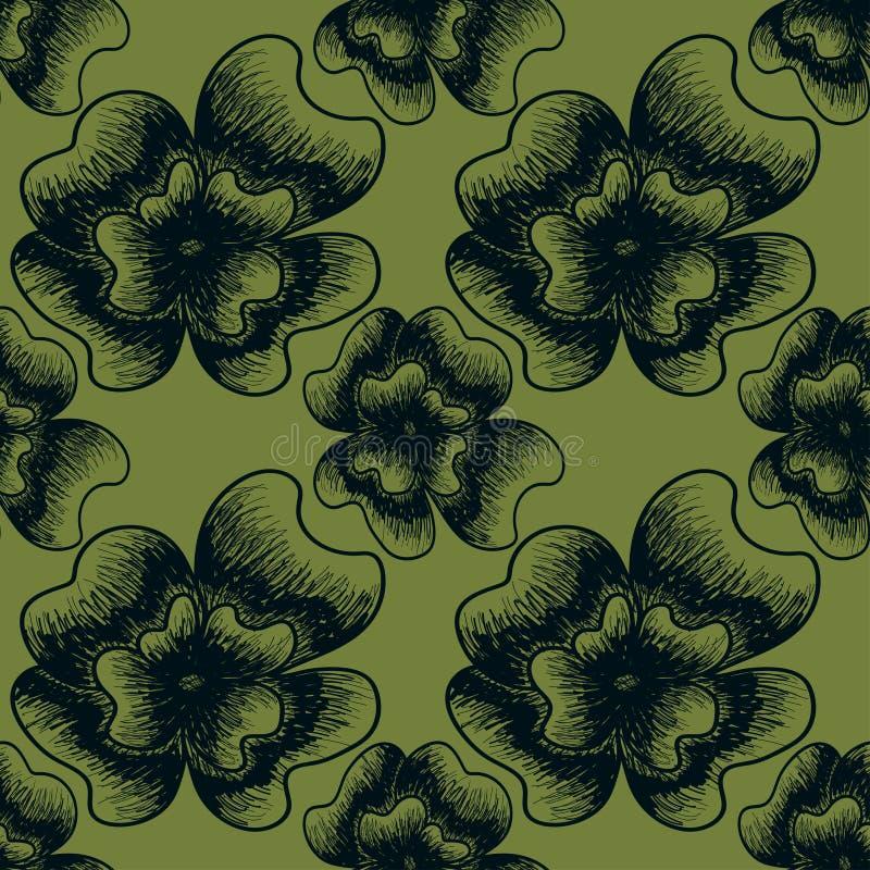 Botanisk illustration för tappning av mörkt - blåa och gröna färger stock illustrationer