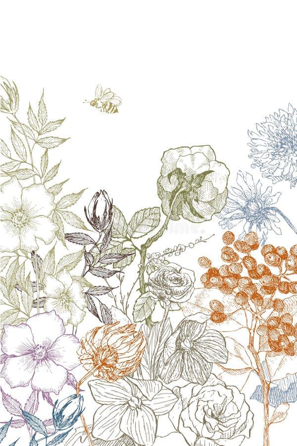 Botanisk illustrationblomma för tappning Klipp från papper Botanica begrepp för designeps för 10 bakgrund vektor för tech royaltyfri illustrationer