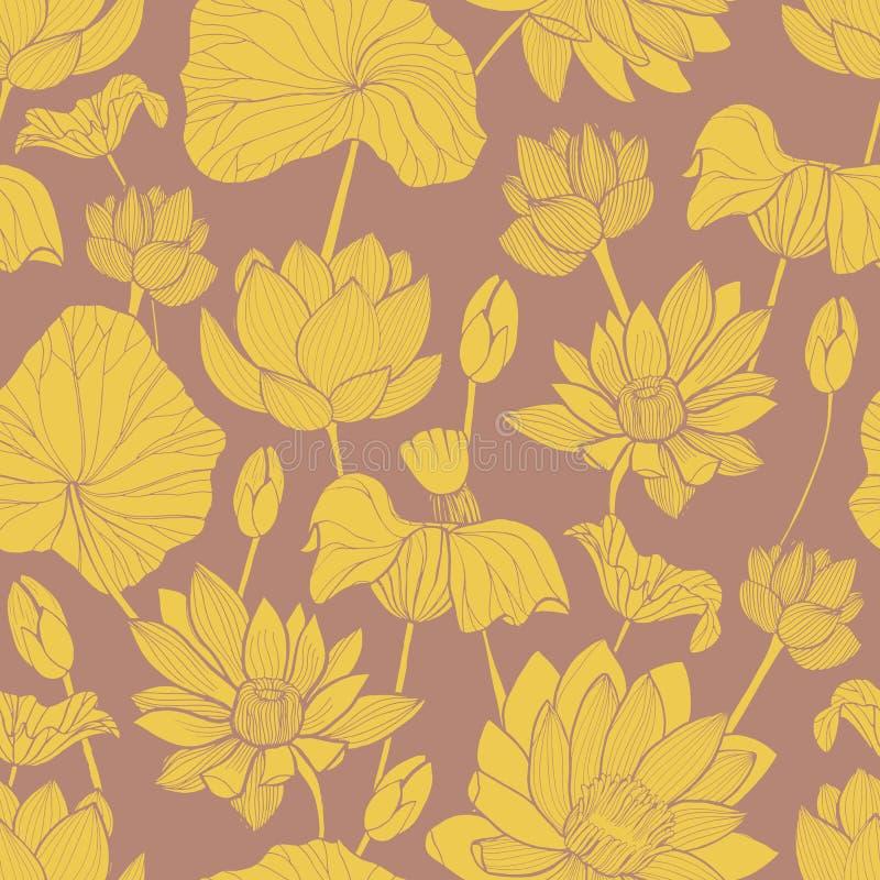 Botanisk sömlös modell med den härliga gula blommande lotusblommahanden som dras på brun bakgrund Bakgrund med elegant royaltyfri illustrationer