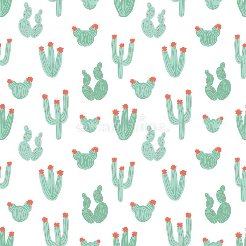 Botanisk sömlös modell med hand drog gröna kakturs på vit bakgrund Blommande mexicanska ökenväxter naturligt royaltyfri illustrationer
