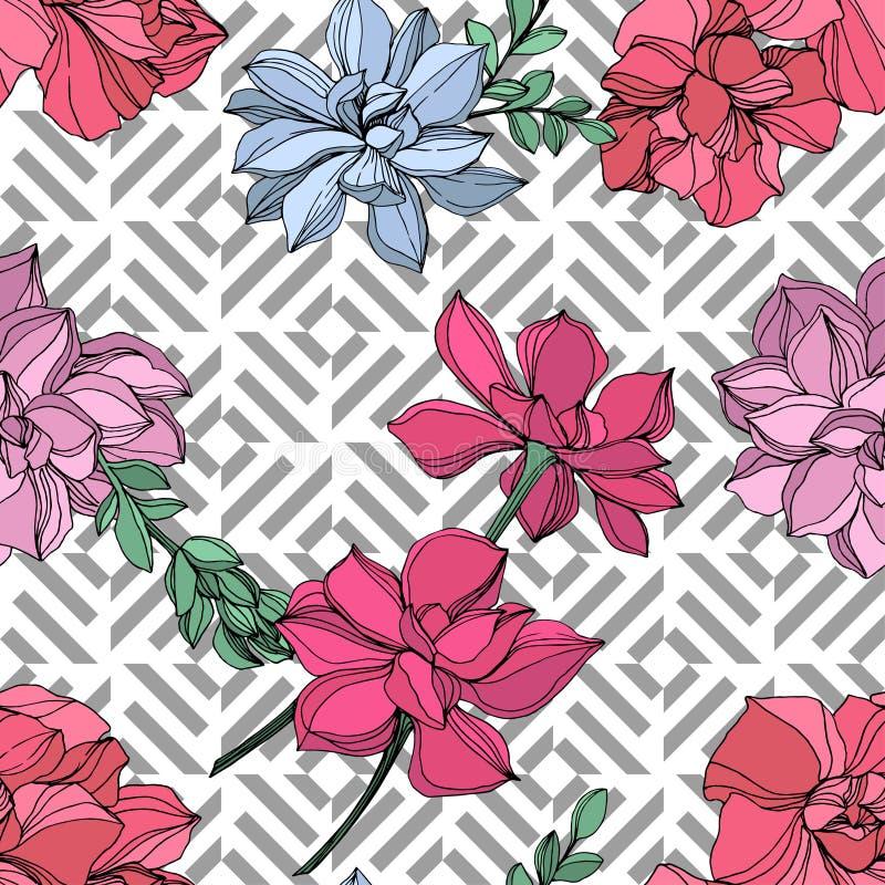 Botanisk suckulent blomma för vektordjungel Inristad färgpulverkonstillustration Seamless bakgrund mönstrar vektor illustrationer