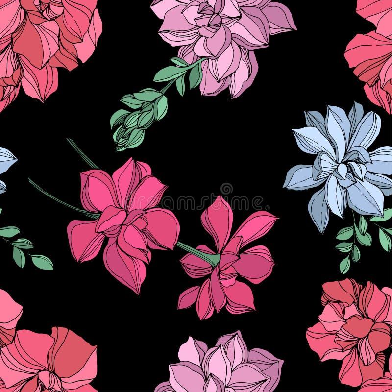 Botanisk suckulent blomma för vektordjungel Inristad färgpulverkonstillustration Seamless bakgrund mönstrar royaltyfri illustrationer