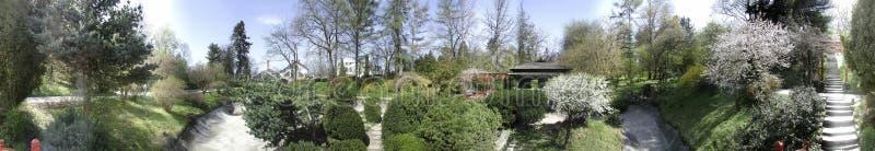 Botanisk trädgård 360 grader panorama arkivfoton
