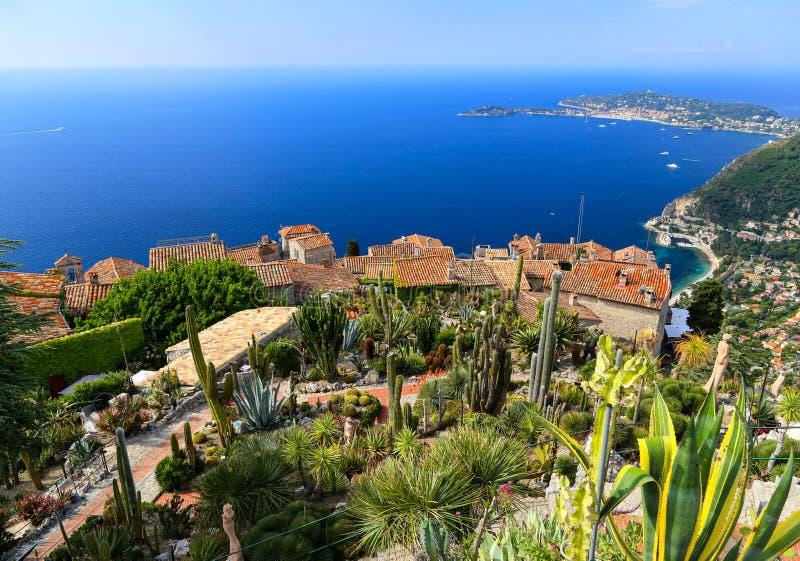 Botanisk trädgård i Eze surmer, franska Riviera arkivbilder