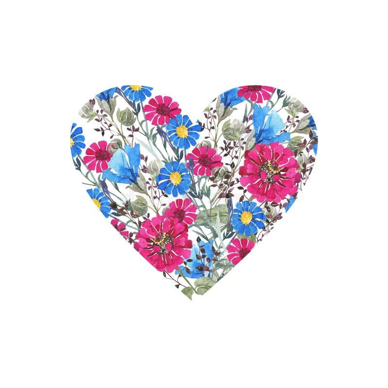 Botanisk vattenfärg, blom- hjärta Ljusa vildblommor, blom- bukett i formen av en hjärta greeting lyckligt nytt ?r f?r 2007 kort V royaltyfri illustrationer