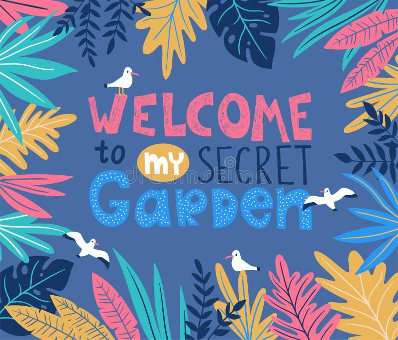 Botanisk vektoraffisch med stilfulla tropiska sidor, fåglar och handskriven bokstäver - VÄLKOMNANDE till min hemliga trädgård royaltyfri illustrationer