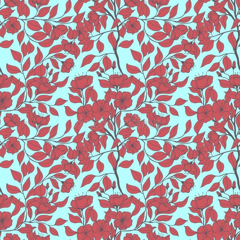 Botanisk vektorillustration för sömlös modell filialer med blommor av sidor för äppleträd teckningen hand henne morgonunderkl?der vektor illustrationer