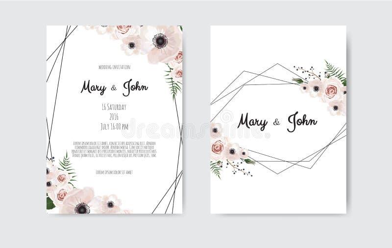 Botaniska blommor för design, för vit och för rosa färger för mall för bröllopinbjudankort Vektormalluppsättning royaltyfri illustrationer