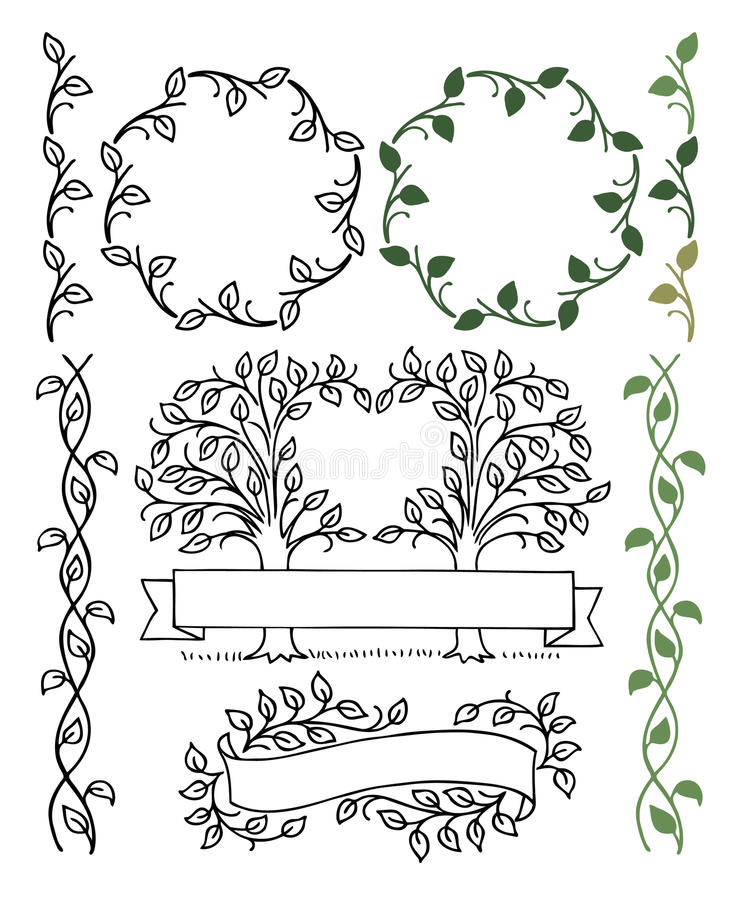 Botaniska gränser stock illustrationer