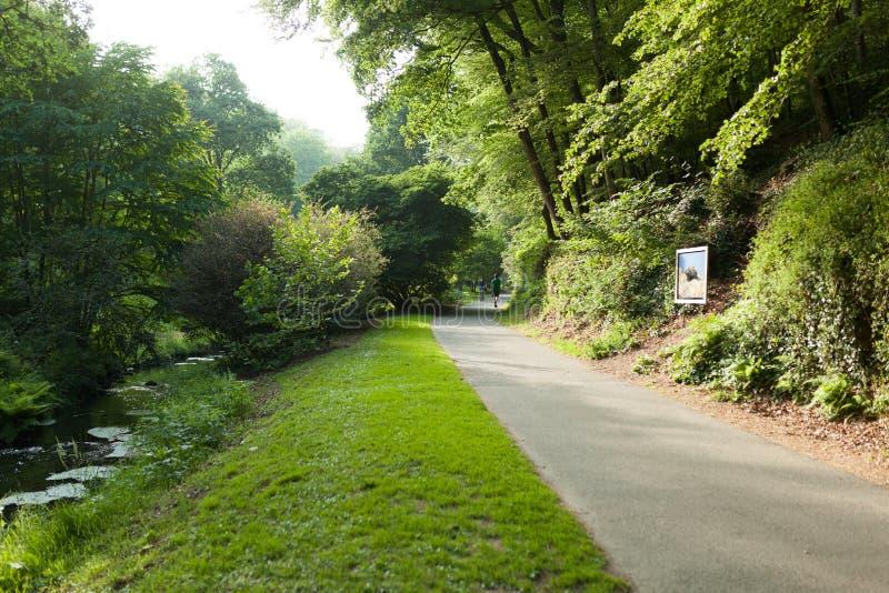 Botaniska trädgården Le Vallon du stack Alar Brest France 27 kan 2018 - den lilla sjön och brosommarsäsongen royaltyfri bild