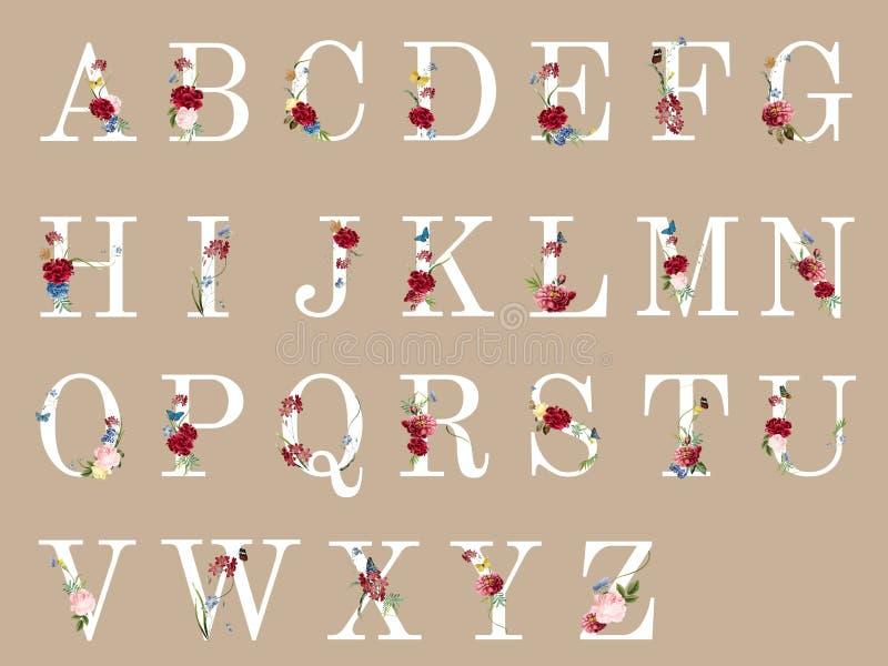 Botaniskt alfabet med den tropiska blommaillustrationen royaltyfri illustrationer