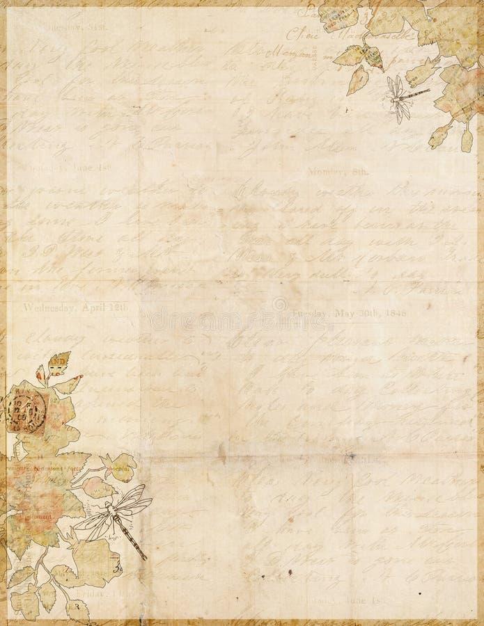 Botaniskt sjaskigt chic grungy skriftpapper vektor illustrationer