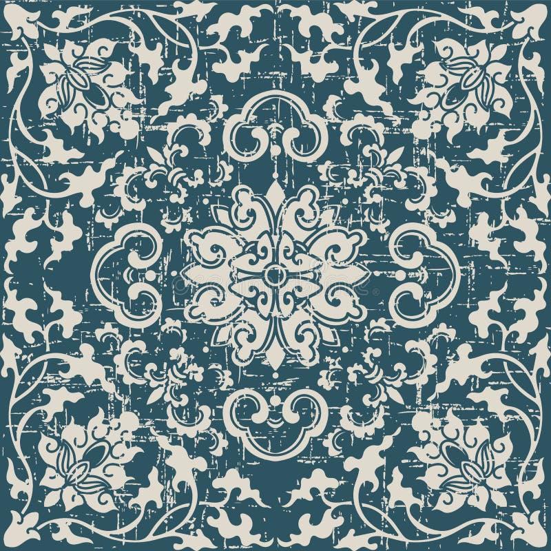 Botaniskt spiralt vinrankakors f för sliten ut antik sömlös bakgrund royaltyfri illustrationer