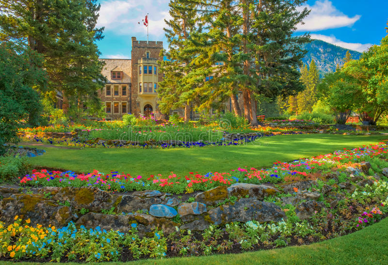 Botany on the grounds Banff National Park of Canada Administration Building. Banff National Park of Canada Administration Building and grounds. Banff Alberta stock photo