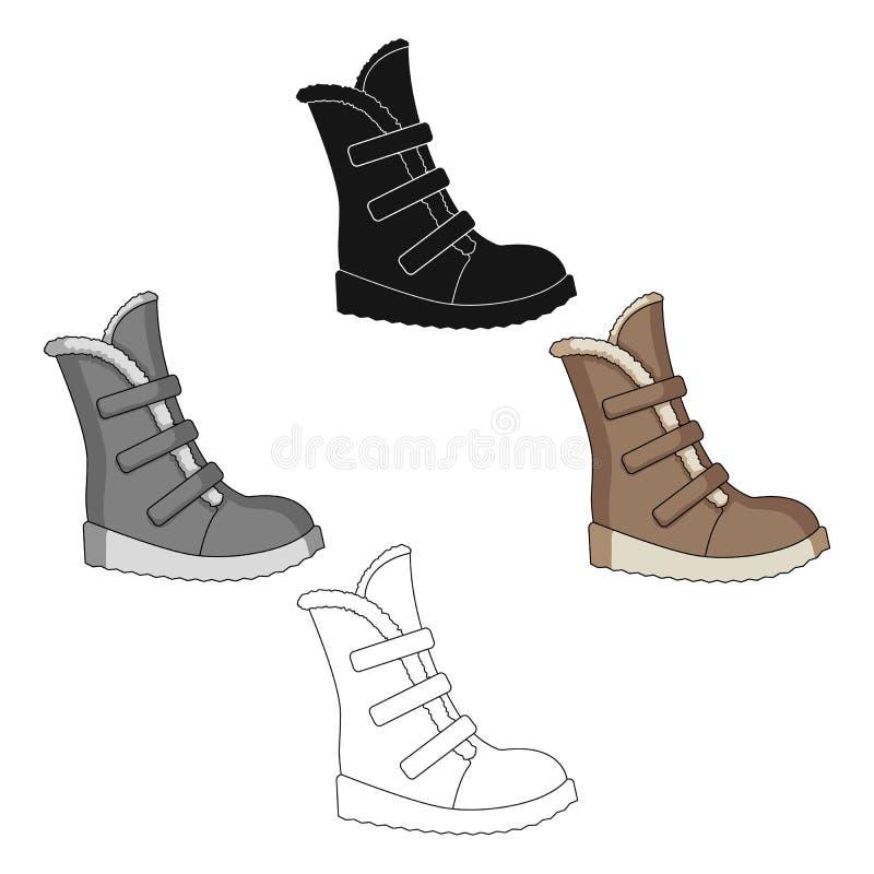 Botas altas del invierno hechas de lanas con velcro Zapatos para los exploradores Diversos zapatos escogen el icono en la histori stock de ilustración