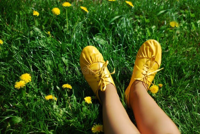Botas amarelas em uma grama fotos de stock