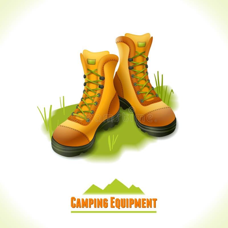 Botas de acampamento do símbolo ilustração stock