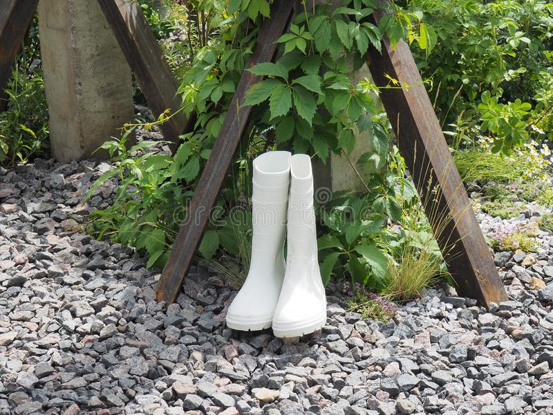 Botas de borracha brancas nas rochas no jardim foto de stock
